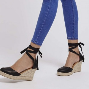 Black Platform Strappy Sandals Almond Toe Wedge Heel Sandals