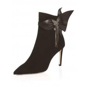 Black Pointy Toe Butterfly Rhinestone Bow Stiletto Heel Ankle Booties