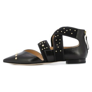 Black Pointy Toe Comfortable Flats Cross Strap Studs Shoes