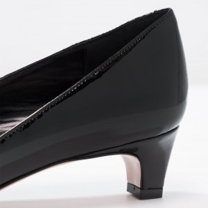 Black Pointy Toe Cone Heels Office Heels for Women