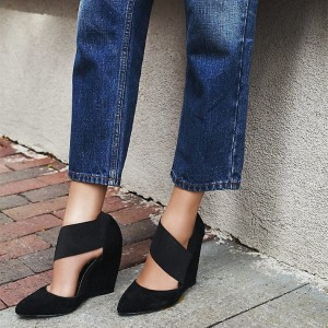 Black Pointy Toe Elastic Strap Wedge Heels Pumps Suede Office Shoes