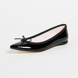 Black Pointy Toe Flats Comfortable Ballet Shoes with Bow