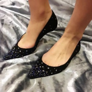 Black Pointy Toe Flats Comfortable Shoes with Rhinestone