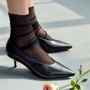 Black Pointy Toe Kitten Heels Vintage Shoes for Women