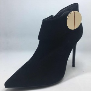 Black Pointy Toe Metal Stiletto Heel Ankle Booties