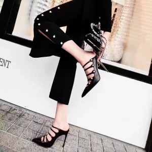 Black Pointy Toe Mules Buckles Stiletto Heels Sexy Sandals