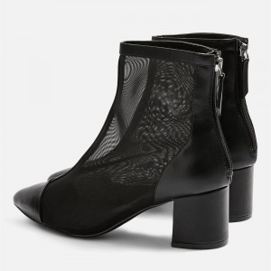 Black Pointy Toe Nets Chunky Heel Ankle Booties