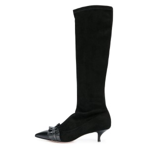 Black Pointy Toe Ruffle Kitten Heel Boots Fashion Mid Calf Boots