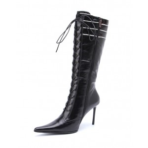 Black Pointy Toe Stiletto Heel Lace Up Boots