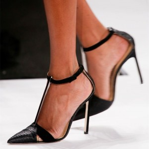 Black Pointy Toe T Strap Heels Stilettos Pumps Sexy High Heel Shoes