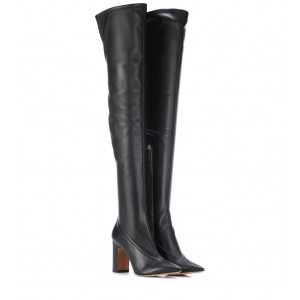 Black Pointy Toe Thigh High Heel Boots Chunky Heel Long Boots