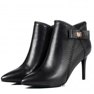 Black Pointy Toe White Crystal Decorated Stiletto Heel Ankle Booties