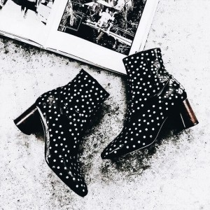 Black Studs Chunky Heel Boots Fashion Ankle Boots