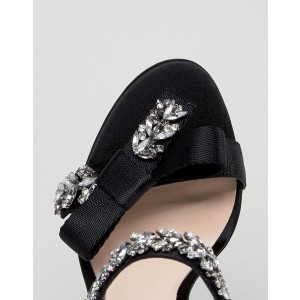 Black Prom Shoes Open Toe Rhinestone Heels Slingback Sandals