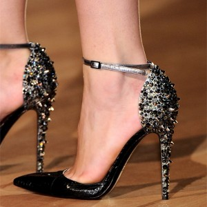 Black Python Rivets Ankle Strap Heels Pumps