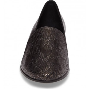 Black Python Round Toe Loafers for Women