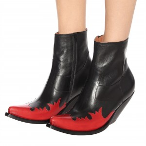 Black Red Flame Wedge Booties