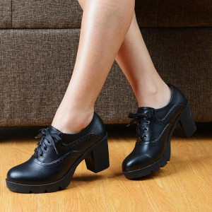 Black Retro Oxford Heels Lace up Round Toe Block Heel Vintage Shoes