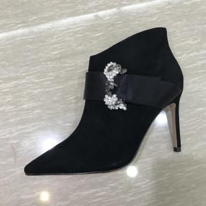 Black Rhinestone Buckle Stiletto Heels Ankle Booties