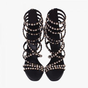 Black Rhinestone Heels Sandals Stiletto Heels Strappy Sandals