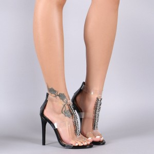 Black Rhinestone Heels Stiletto Heel Clear Sandals
