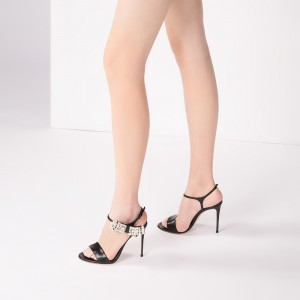 Black Rhinestone Heels Stiletto Heel Sandals