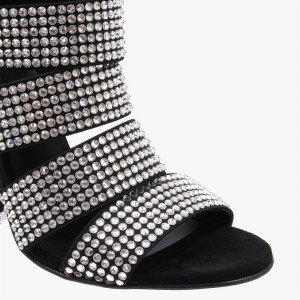 Black Rhinestone Heels Zipper Chunky Heels Evening Sandals