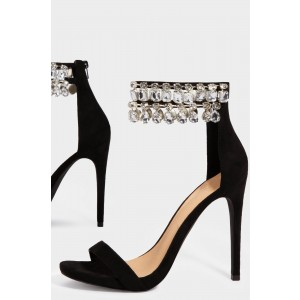 Black Rhinestone Open Toe Stiletto Heels Ankle Strap Sandals