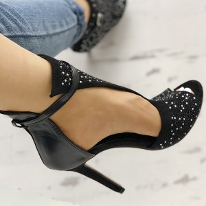 Black Rhinestone Peep Toe Sandals Stiletto Heels Summer Boots