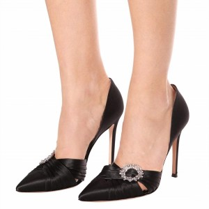 Black Rhinestone Pointy Toe Double D'orasy Stiletto Heel Pumps