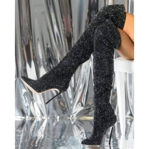Black Rhinestone Stiletto Boots Closed Toe Over-the-Knee Boots