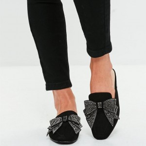 Black Suede Loafer Mules Square Toe Rhinestone Bow Loafers for Women