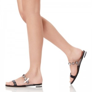 Black and Clear Rhinestone Flat Sandals Open Toe Women's Slide Sandals