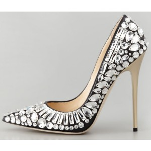 Black Rhinestones Heels Stiletto Heel Pumps