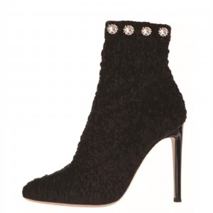 Black Rhinestones Stiletto Heel Ankle Booties