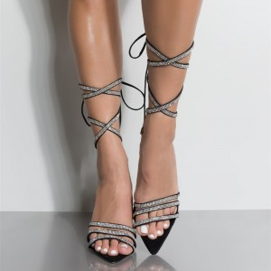 Black Rhinestone Wrap up Heels Open Toe Stiletto Heels Strappy Sandals