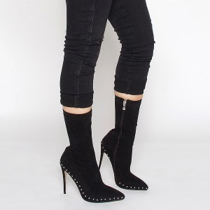 Black Rivets Fashion Boots Pointy Toe Stiletto Heels Suede Ankle Boots