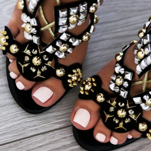 Black Rivets Lace up Sandals Stiletto Heel Strappy Sandals