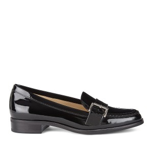 Black Round Toe Flats Buckle Patent Leather Loafers for Women