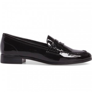 Black Patent Leather Round Toe Slip-on Flat Penny Loafers for Women