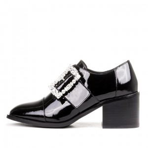 Black Round Toe Rhinestone Block Heel Loafers for Women