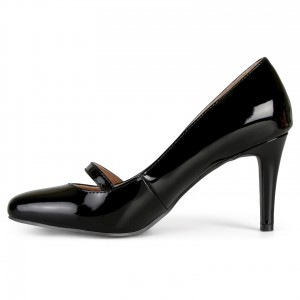 Black Round Toe Stiletto Heels Buckle Mary Jane Pumps