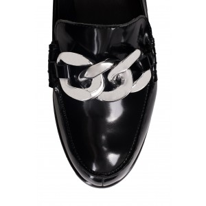 Black Round Toe Chains Loafers for Women