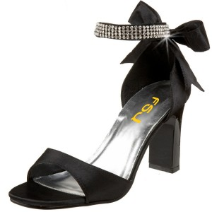 Black Bow Evening Shoes Rhinestone Ankle Strap Block Heel Sandals