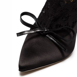 Black Satin Bow Pointy Toe Stiletto Boots Spring Lace Ankle Booties