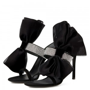 Black Satin Bow Rhinestone Mule Heels Sandals