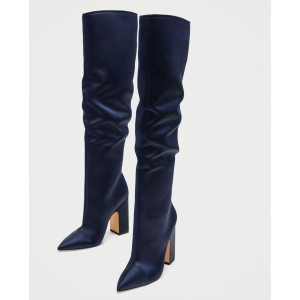 Navy Satin Chunky Heel Boots Pointy Toe Over the Knee Boots