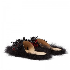 Black Satin Feather Flower Flat Mules