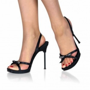Black Rhinestone Bow Open Toe Stiletto Heels Slingback Sandals