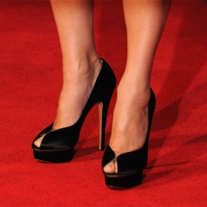Black Satin Platform Heels Peep Toe Stiletto Heel Pumps